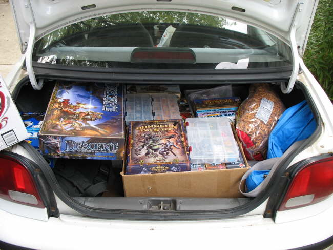 GameDay Chris' - Trunk of Geo loaded with games